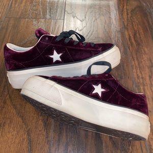 Platform Velvet Plum Converse Sneakers